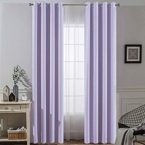 Yakamok Thermal Insulated Solid Ring Top Blackout Window Drapes-Blackout Curtains Panels for Bedroom,52' W x 84' L (Set of 2 Panels,Lilac,2 Tie Backs Included)