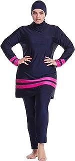 ملابس السباحة النسائية المسلمين مكونة من 3 قطع من حجاب إسلامي بغطاء كامل ملابس السباحة المنقدة لركوب الأمواج بوركيني (اللو...