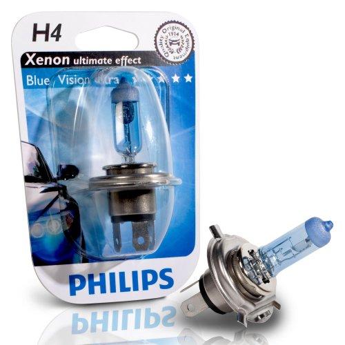 JOM Car Parts & Car Hifi GmbH H4 12V 55/60W Glühlampe, Philips Blue Vision 4000°K
