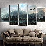 Qhrdp Leinwand Wandkunst Bilder Wohnkultur 5 Stücke Game of Thrones Drachen Skyrim Gemälde Für Wohnzimmer Modulare Drucke Poster Frame-40X60 40X80 40X100 cm-No Frame