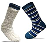 Xelay 2 Pairs 4.7 Tog Rating Mens Fleece Lined Thermal Slipper Socks Cold Weather Heat Warmth Insulated Thick Anti Slip Grippers Multi Striped Winter Socks UK 6-11 (Navy Stripy, 2 Pairs)