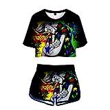 wywyet 3D Anime One Piece Women Summer Pyjama Set Harajuku Short Sleeve Top + Shorts Casual Girls Clothes, XL