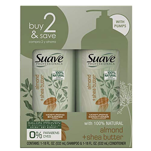 SUAVE HAIR Professionals Almond  Shea Butter Moisturizing Shampoo And Conditioner packaging may vary
