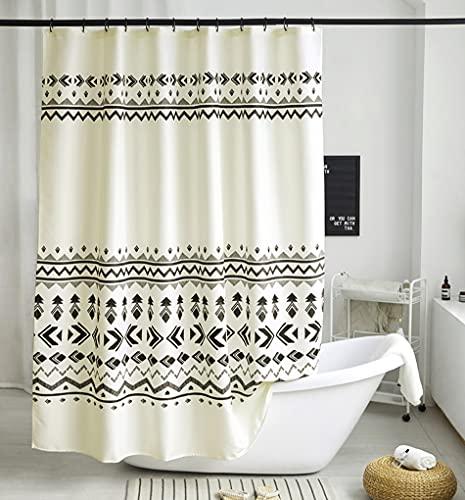 Uphome Boho Shower Curtain Light Beige Fabric Geometric Tribal Bathroom Curtain Set with Hooks Modern Ethnic Bohemian Bath Curtain,Upgraded 160GSM Heavy Duty Waterproof, 72x72