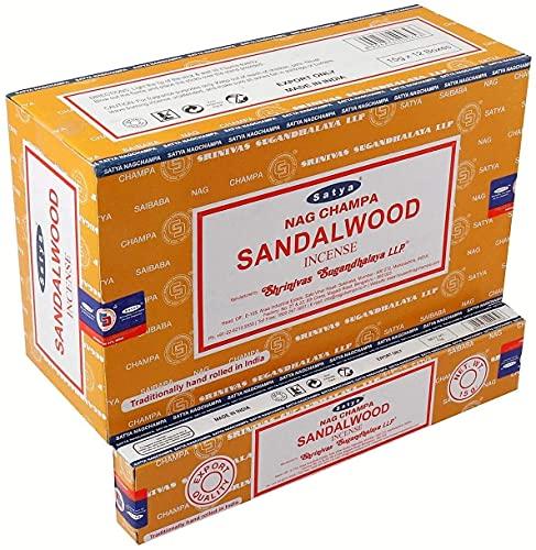 Satya Nag Champa Räucherstäbchen aus Sandelholz, gelb, 12 Stück