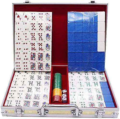 IOUYRRN Jeux de carrelage Les Plus récents Jeux de Carreaux Mahjong Set 120 Draps Rummy Poker Mahjong Résistant Remise Jeu Jeux de Jeu de fête Mahjong Poker Mahjong Set (Couleur: A, Taille: 35 * 23 *