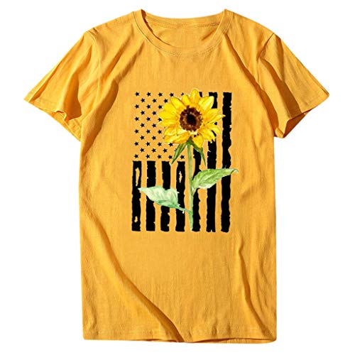 Lowest Price! Moilant Women Summer Tee Top Flower Printing Round Neck Short Sleeve Top T Shirt Blous...