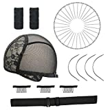Adjustable Wig Caps for Making Wigs, Elastic Band for Wigs, Black Double Lace Wig Cap, Wig Making Kit DIY Wig Tools Wig Accessories for Pro and Beginner (L)