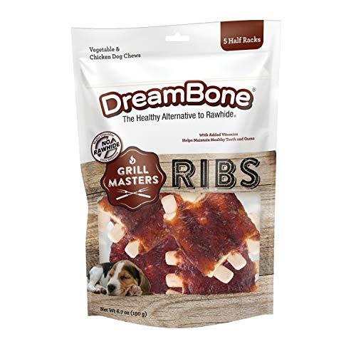 DreamBone Grill Masters Ribs, No-Rawhide Chews for Dogs, 5 Half Racks