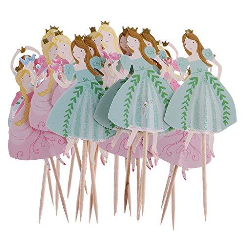 MagiDeal Holz Cupcake Picks Zahnstocher Partei Kuchen Cocktail Dekor, 24 Stück/Set - Tanzen-Prinzessin