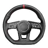 HCDSWSN Cubierta del Volante del Coche de Cuero Genuino para Audi A3 2017-2019 A5 2018-2019 RS 3 2018 RS 5 2018-2019 S3 2017-2019
