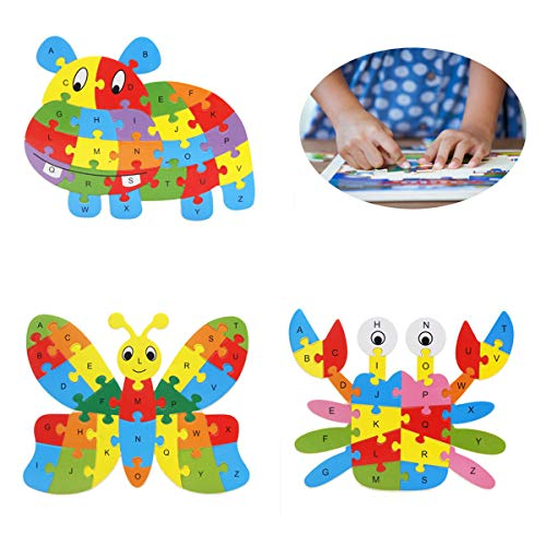 MMIAOO 英単語 アルファベット パズル 子供用パズル 木製 パズル 積み木 木のおもちゃ 知育玩具 教育おもちゃ 贈り物 出産祝い 入園お祝い 赤ちゃん 幼児 子供 男の子 女の子 3点セット  (牛+蝶+カニ)
