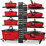 Pot and Pan Organizer for Cabinet, Adjustable 8 Non-Slip Tiers Pot Rack Organizer with 3 DIY Methods, Kitchen Under Cabinet Organizer Rack for Pots and Pans, Black Steel Cookware Organizer (UPGRADED)