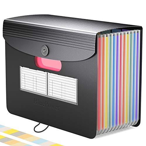 13 Bolsillos Carpeta Clasificadora de Acordeon,BluePower A4 Carpetas Plastico Archivador con Tapa Separadores Acordeón,Colores Organizador Documentos Archivadores...