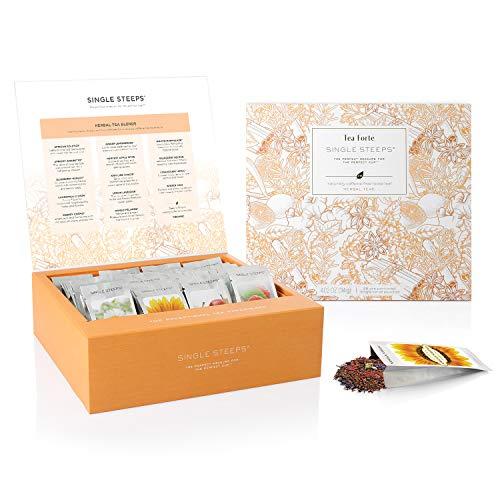 Hojas Sueltas DE UN SOLO USO en una CAJA DE TÉ DE Tea Forte, 28 Bolsas diferentes para servir - Té de hierbas
