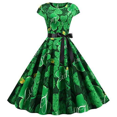 Yeelight Damen Vintage 50er Jahre Rockabilly Neckholderkleid ST Patrick's Day Kleeblatt Kleid Gr. X-Large, Typ 3