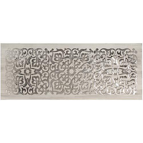 Cuadro mandala rectangular de madera en plata 150x60cm