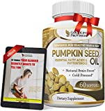 Pumpkin Seed Oil - 100% Cold Pressed Pure 1000mg Extraction - Best for Hair Growth, Younger Looking Skin & Face, Bladder Control Supplement, 60 Softgels