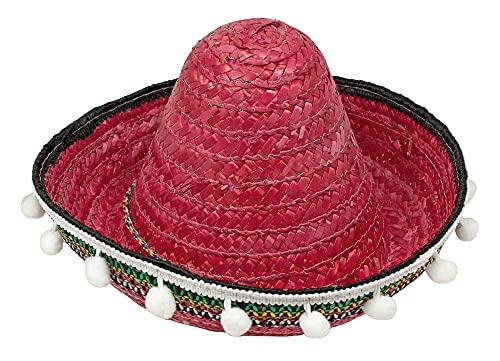 Sombrero mexicano con borlas para niños, 25 cm, color rojo, accesorio para disfraz de México