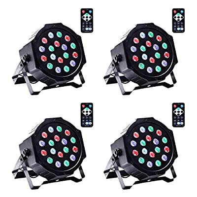 4 Pack Par Light,UKing 18 LEDs RGBW Stage Light, Colourful DJ Light by DMX and Sound Activated Modes Control for Club DJ Party Bands Show