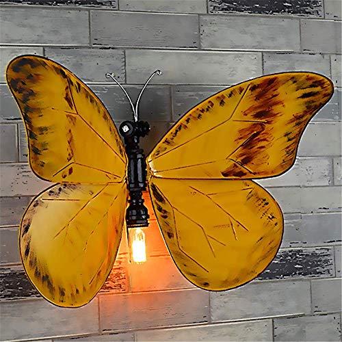 XXLYY Antik Industrieller Applique Murale Jaune Papillon Lumières Lampes Murales De Chevet Intérieur E27 Applique En Fer Forgé Lumière pour Chambres Appliques Murales Fille Chambre Bébé Enfants Veille