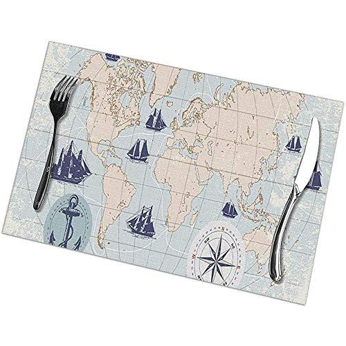 Plaats Matten Placemats Nautical World Map met doos en naald Anker en Zeilschepen in Vintage Stijl Oude Ark