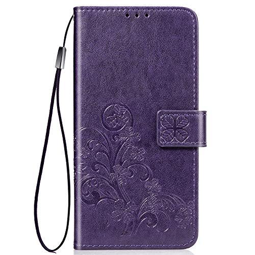 FINEONE Hülle für Motorola Moto E6 Plus Leder Flip Wallet Hülle, Schmetterling Blumen Handyhülle PU Leder Tasche Hülle, Kartensteckplätzen Schutzhülle Ständer Etui-Lila