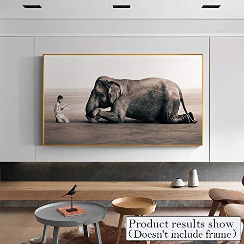 BailongXiao Modernes Jungen- und Elefantennaturfoto-Leinwandkunstwandbild für Hauptdekoration,Rahmenlose Malerei,75x112cm