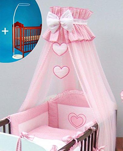 Couronne Lit pour bébé Canopy/moustiquaire 480 cm + sol sans support – motif cœurs rose