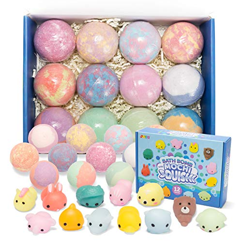 Bath Bombs for Kids with Mochi Squishy, 12 Pack Bubble Bath Bombs with Surprise Toy Inside, Natural Essential Oil SPA Bath Fizzies Set, Kids Safe Birthday Gift for Boys and Girls