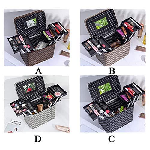 PU Make-up Organizer Draagbare Travel Make-up Case 4 Trays Cosmetische Opbergtas Vierkant Grote Capaciteit Rits Toilettas Met Spiegel B
