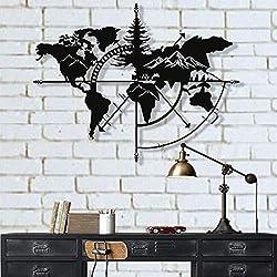 DEKADRON Metal World Map Wall Art World Map Mountains 3D Wall Silhouette Metal Wall Decor Home Office Bedroom Living Room Decoration (Black, 40 W x 30 H / 101x76cm)