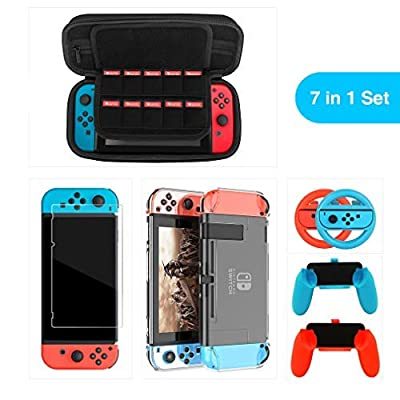 7 in 1 Nintendo Switch Accessories Kit witch Hard Shell Carrying Case, Protective Cover Case and Tempered-glass Screen Protector, Grips Handle and Steering Wheel for Joy-Con Controllers