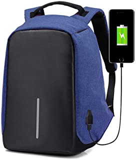 Anti-Theft Laptop Backpack Travel Bag Water Repellent w/USB Port Travel Busines (Blue)