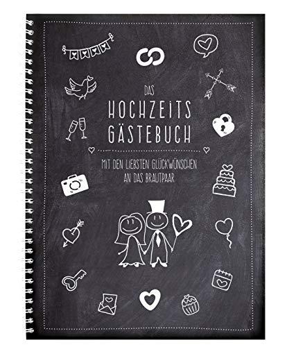 XXL-Gästebuch - modern Art - zur Hochzeit mit witzigen Fragen im Innenteil