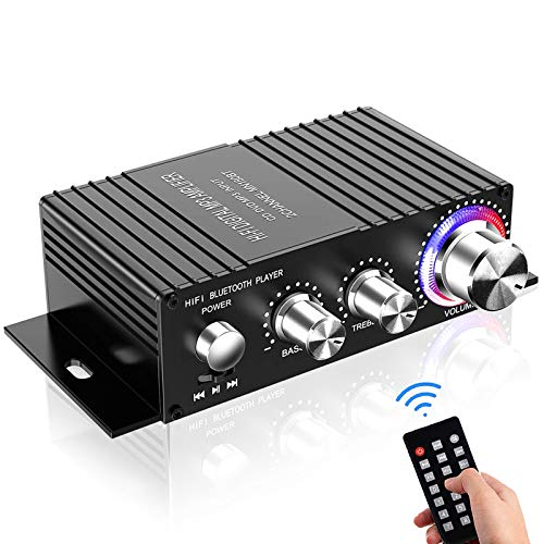 Amplificatore Bluetooth Audio Auto,DUTISON Mini Amplificatore Stereo HiFi per Auto e Casa,100W Amplificatore con telecomando e audio a doppio canale da USB(Non incluso Adattatore di alimentazione)