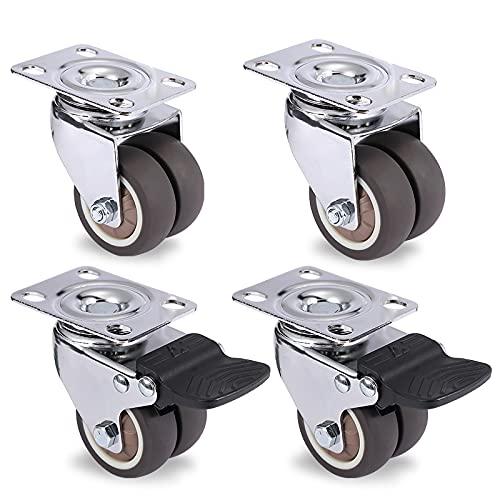 Ruedas Casters de muebles giratorios de 4 unids 1.5'/ 2' Rodillos de rodillo de goma suave de alta calidad para el freno para la platina de la plataforma. Reemplazo de ruedas giratorias de estilo