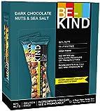 BE-KIND Barrita energética de frutos secos baja en azúcar sin lactosa| Snack sin gluten y alto en fibra de chocolate negro y sal marina| 12x40g
