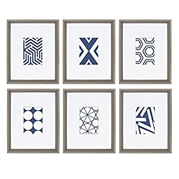Kate and Laurel Calter 6 Framed Modern Blue and White Geometric Abstract Art Prints Gray