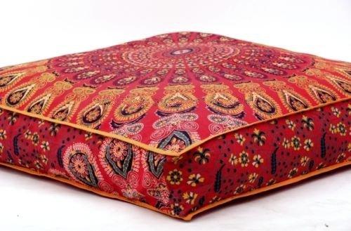 Indisches Feder-Mandala-Boden-Kissen Osmane Pouf Quadrat-Abdeckungs Hunde-/ Haustier-Bett von Bhagyoday Fashions