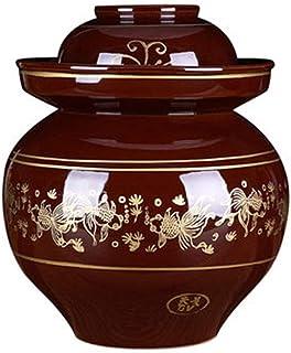 Frasco de Olla de cerámica de fermentación Tradicional, Olla de gres de Tarro de Barro, Tapa sellada con Agua en fermentación marrón, para Servir o almacenar Alimentos, no para cocinar