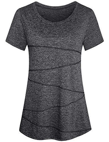Sykooria Damen Tshirts Sport Kurzarm Atmungsaktiv Leicht Dehnbar Rundhalsausschnitt Fitness Yoga Laufen Sportshirt Grau