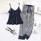 FYMIJJ Conjunto de Pijama,2 Piece Woman Pajamas Set Sling Stain Long Pants Silk Sexy Sleepwear Woman Pink Top Strap Sling Summer Pyjama,Color 01,XXL