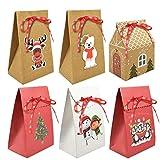 heekpek 6/12 pcs Caja Kraft Bolsas para Fiesta Dulces Galletas Chocolates Decoración de Regalos DIY...
