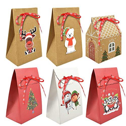 heekpek 12/6 PCS Sac Cadeau Noel Boite Cadeau Papier Kraft Sacs Cadeaux Noël Boîtes Cadeaux Noel Cadeau Noël Boîtes Emballage Cadeau Noel Decoration