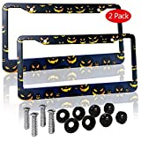 Halloween Pumpkin License Plate Frame License Plate Covers Humor Car Tag Frame 2 Holes Black Personalized Car Accessories for Pet Lovers (2 Pack)