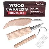Gaxcoo Kit de herramientas para tallar madera | Sloyd, Hook, Cuchillos para detalle | Mango de madera dura, cuchillas de carburo, afilador adicional incluido, juego de 4 piezas todo incluido