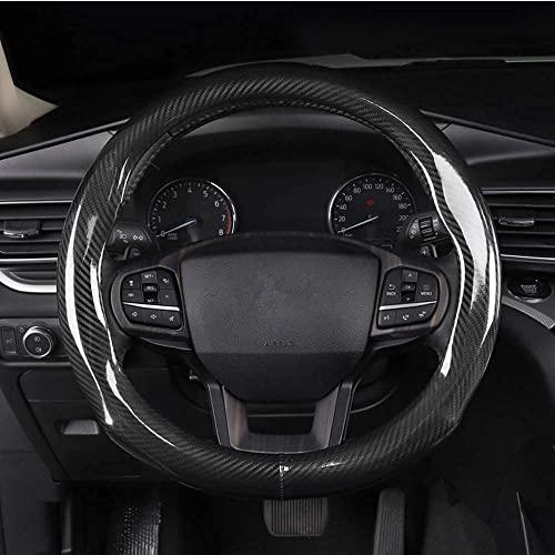 Qmety Mightyfox Carbon Fiber Steering Wheel Covers Universal Fit 15 inch for Men Ergonomics Sport Design Anti-Slip Inner Blue Rubber AWS01B