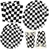 Schwarz-weiß kariertes Rennparty-Geschirr-Set 30 Teller 22,9 cm 76 255 ml Becher 60 Lunch-Servietten Einweg-Papierwaren Flagge Auto Sport Rennwagen Motto Geburtstag Party Geschenk Boutique