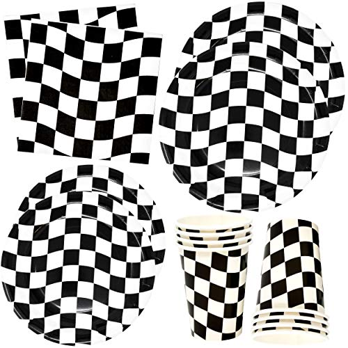 Black and White Checkered Racing Party Supplies Tableware Set 30 9' Plates 30 7' Plate 30 9 oz. Cups 60 Lunch Napkins Disposable Paper Goods Flag Car Sports Racecar Themed Birthday Party Gift Boutique